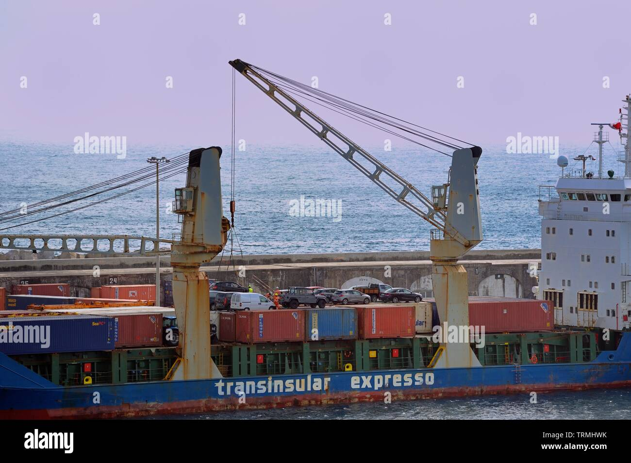 Ponta Delgada, Azores - 23rd April 2019:Ponta do Sol being loaded with cars - Stock Image