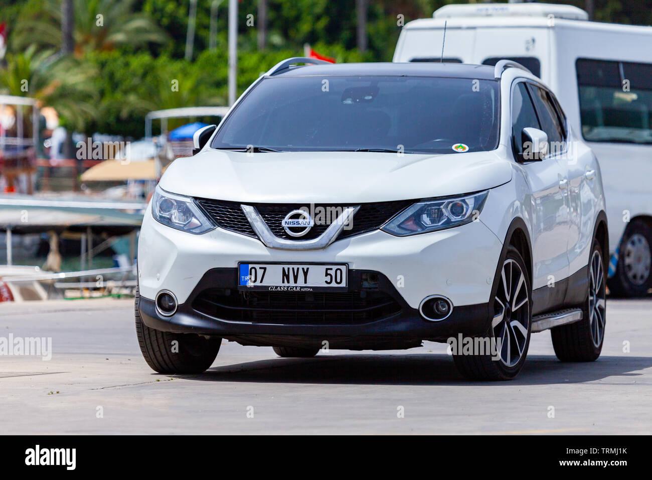 ALANYA / TURKEY - JUNE 3, 2019: Nissan Qashqai stands on a street in Alanya, Turkey. - Stock Image