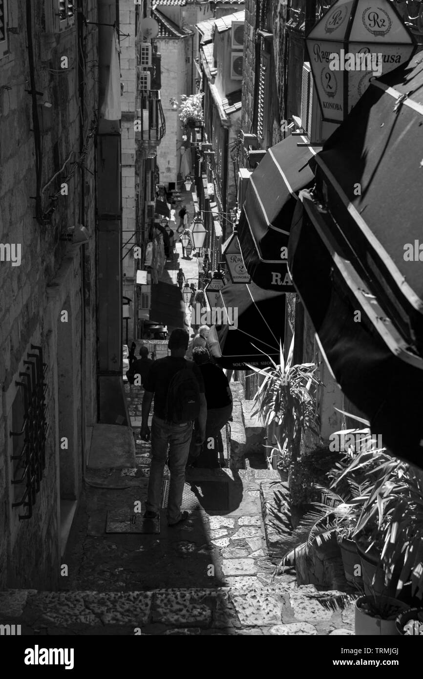 Dropčeva ulica, a steep lane in old town (stari grad), Dubrovnik, Croatia.  Black and white version - Stock Image