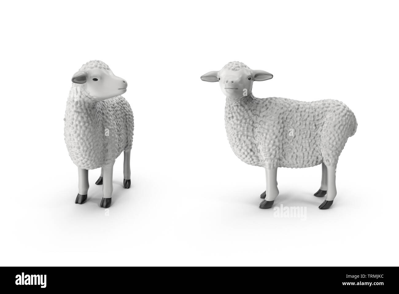 Design creative concept of islamic celebration eid al adha or happy birthday. Copy space text. Sheep isolated on white background 3D illustration - Stock Image
