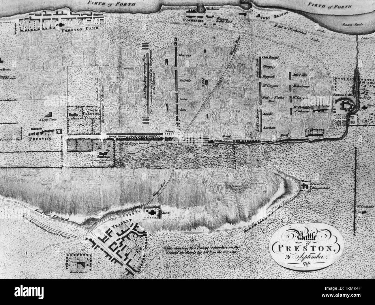 Map of Prestonpans Battlefield Stock Photo