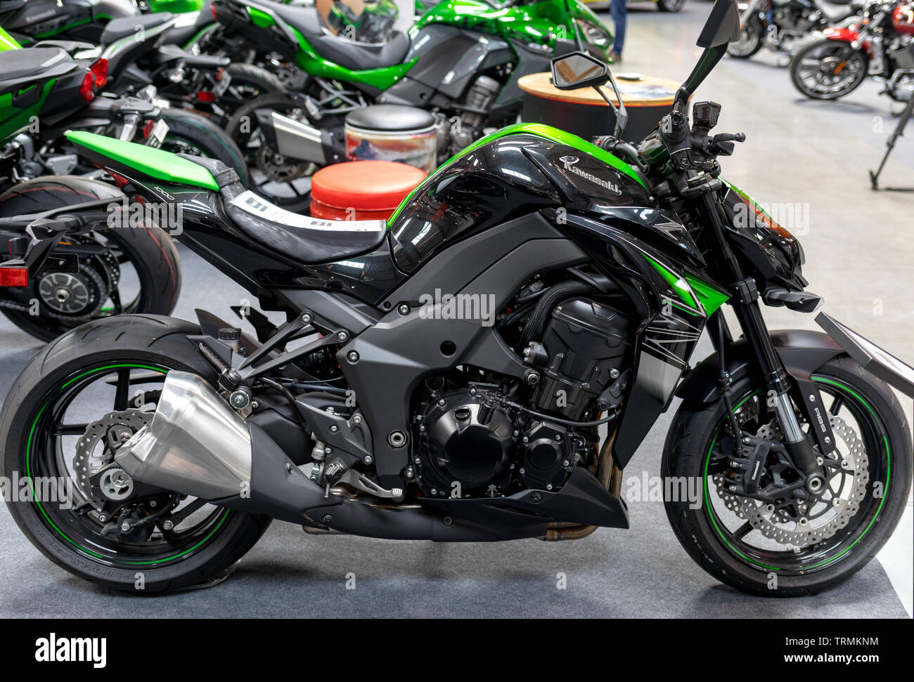 Cracow, Poland - May 18, 2019: Kawasaki motorcycle displayed at Moto Show in Krakow. Poland. Exhibitors present  most interesting aspects of the autom - Stock Image