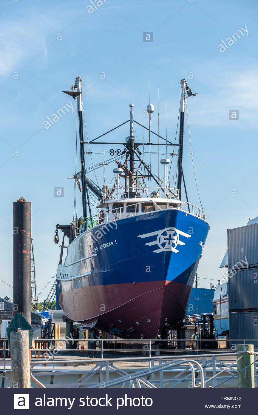 Fairhaven, Massachusetts, USA - June 9, 2019: Commercial fishing vessel Luzo American I hauled out at Union Wharf on morning in late Spring - Stock Image