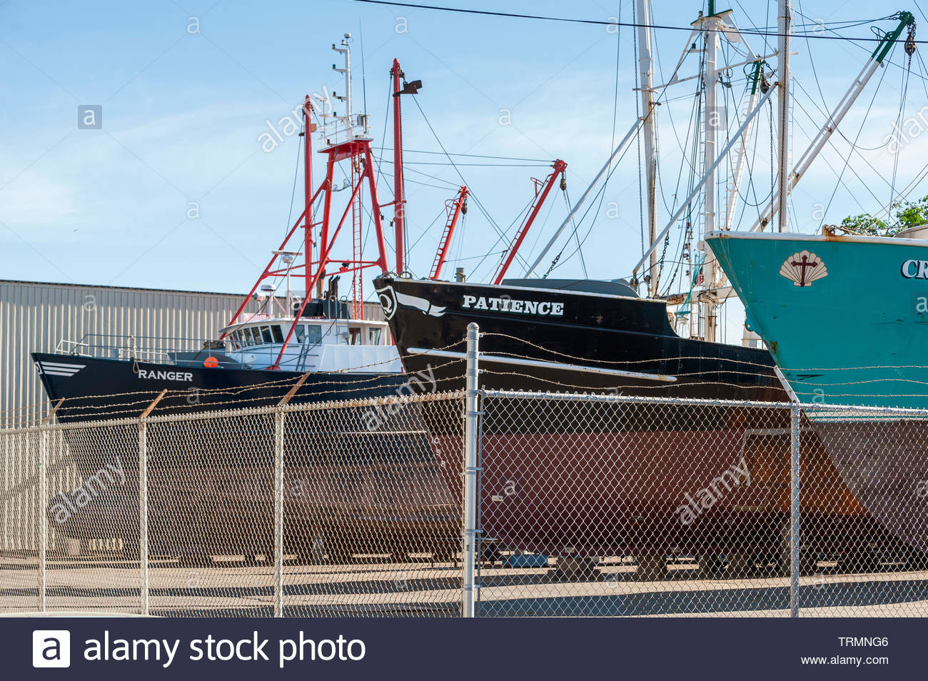 Fairhaven, Massachusetts, USA - June 9, 2019: Commercial fishing vessels Ranger, Patience and Crystal & Katie hauled out at Fairhaven Shipyard - Stock Image