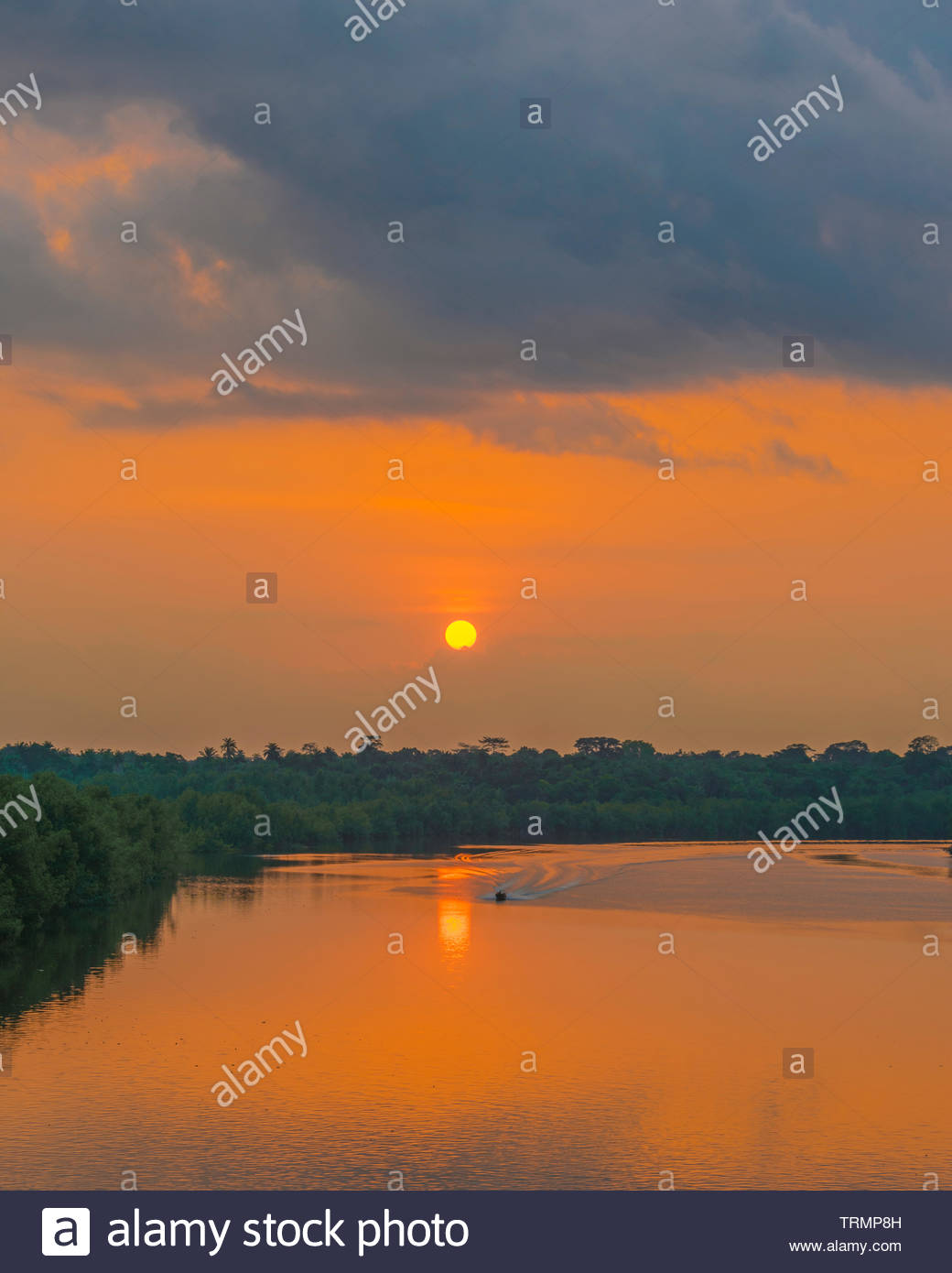 Sunset in the Creeks - Stock Image