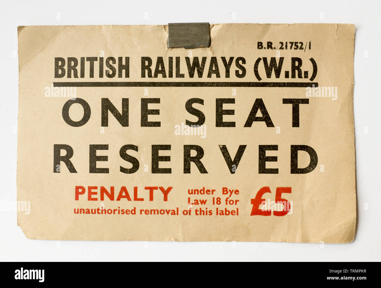 Vintage British Rail Seat Reservation Ticket - Stock Image