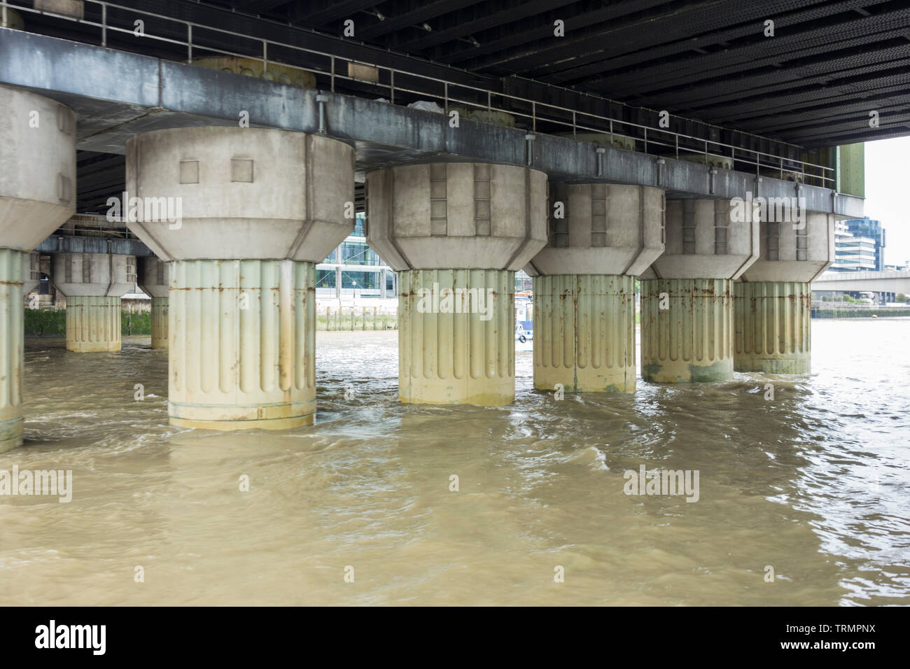 Cannon Street Railway Bridge supports as seen from the River Thames, London, UK - Stock Image