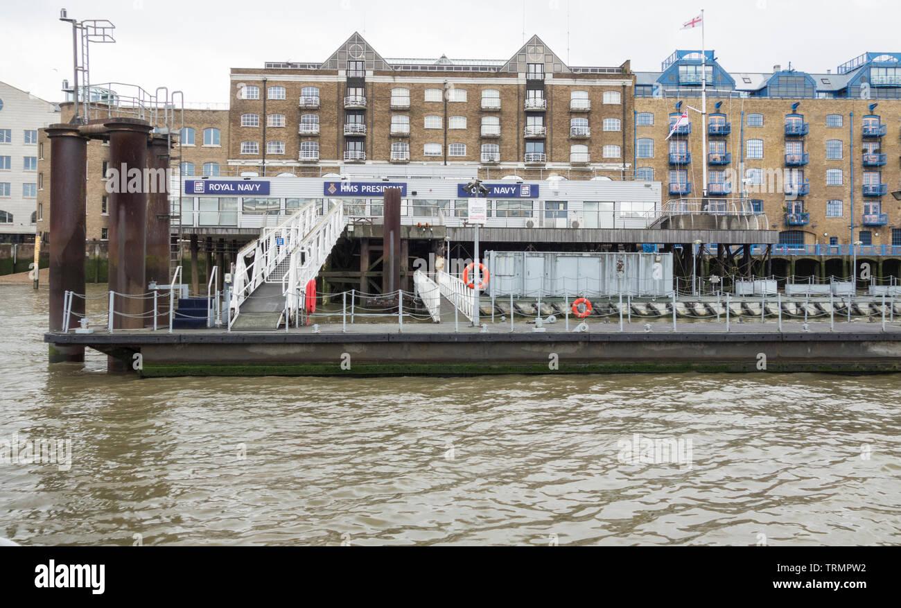 HMS President, St Katharine's Dock, London, UK - Stock Image