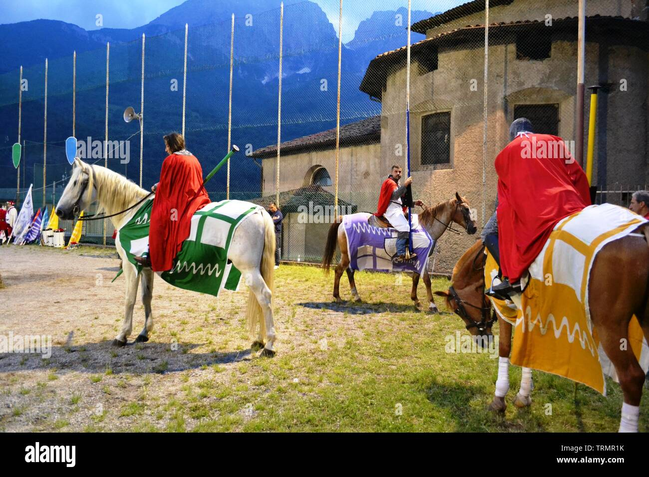 Primaluna/Italy - June 21, 2014: Medieval knights characters ready for rings competition during the Medieval festival of six fractions of the town. Stock Photo