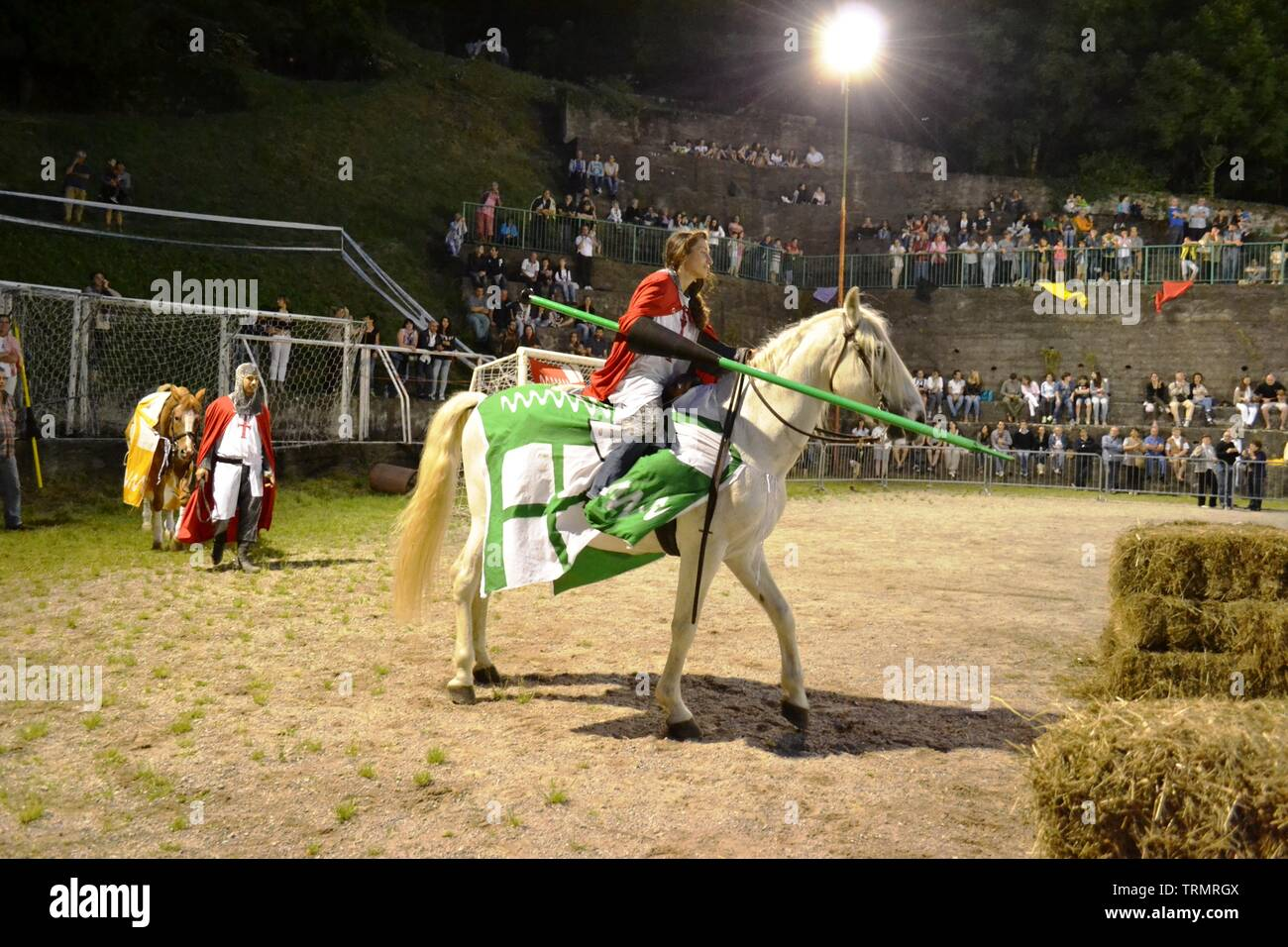 Primaluna/Italy - June 21, 2014: Medieval knight characters ready for rings competition during the Medieval festival of six fractions of the town. Stock Photo