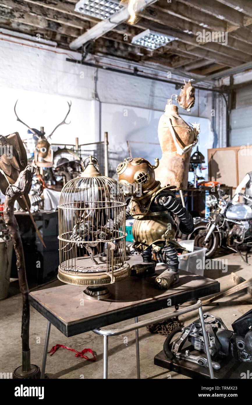 Repurposed art sculptures by Joe Rush at Vinegar Yard, London, UK - Stock Image