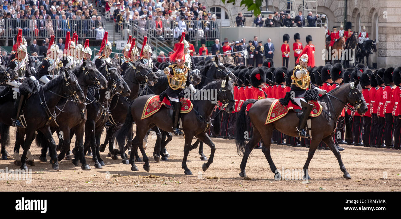 Cavalry horses taking part in the Trooping the Colour military parade commemorating Queen Elizabeth's birthday. London UK. - Stock Image