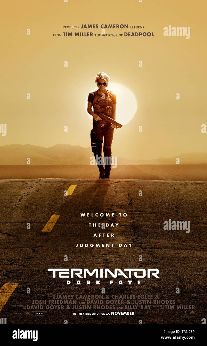 Terminator: Dark Fate (2019) directed by Tim Miller and starring Mackenzie Davis, Linda Hamilton, Brett Azar and Arnold Schwarzenegger. Sarah Connor returns to battle a T-1000. - Stock Image