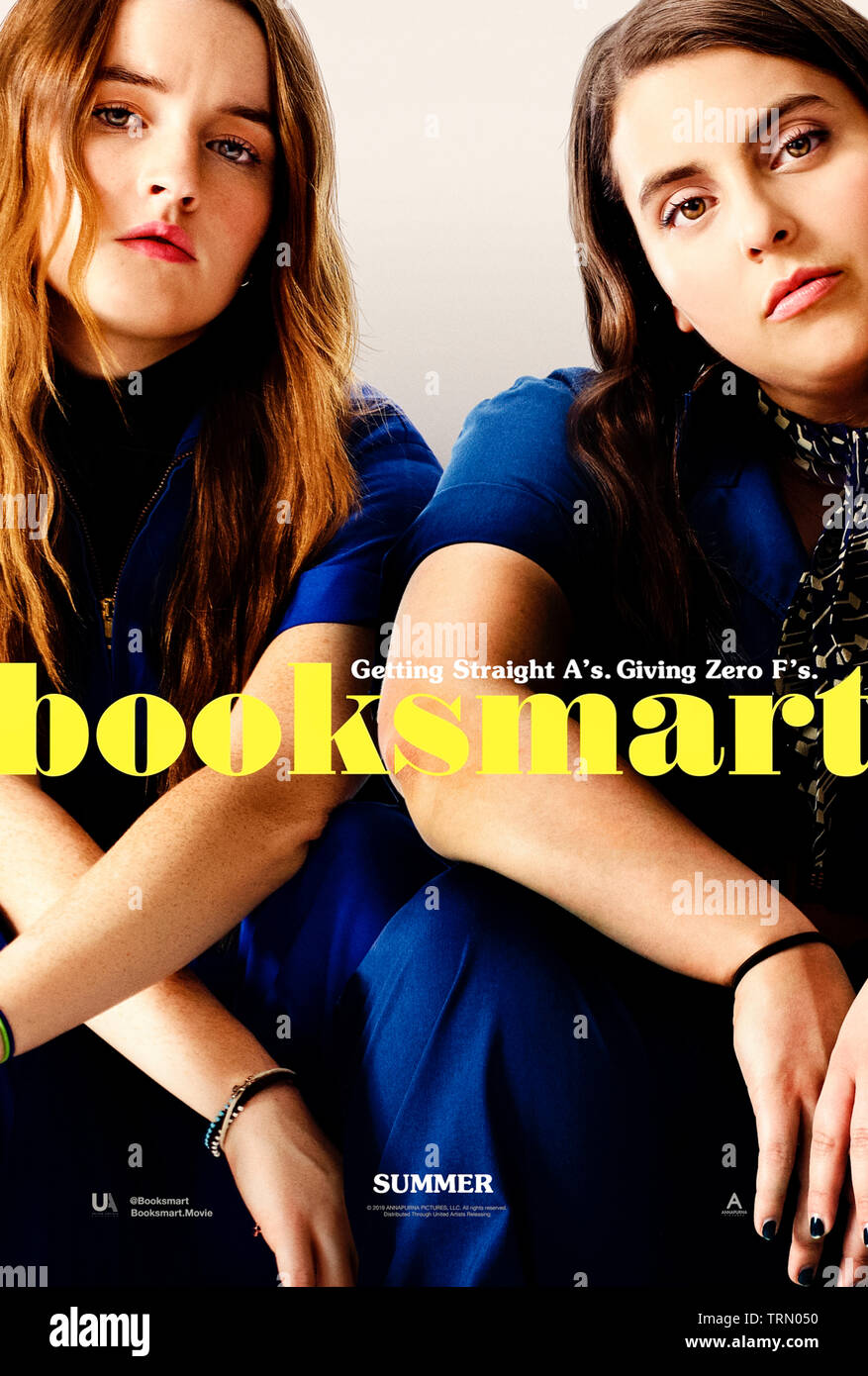Booksmart (2019) directed by Olivia Wilde and starring Kaitlyn Dever, Beanie Feldstein and Jessica Williams. Two high achievers realise they might have wasted their high school years studying and try and cram in four years of fun into one night. - Stock Image