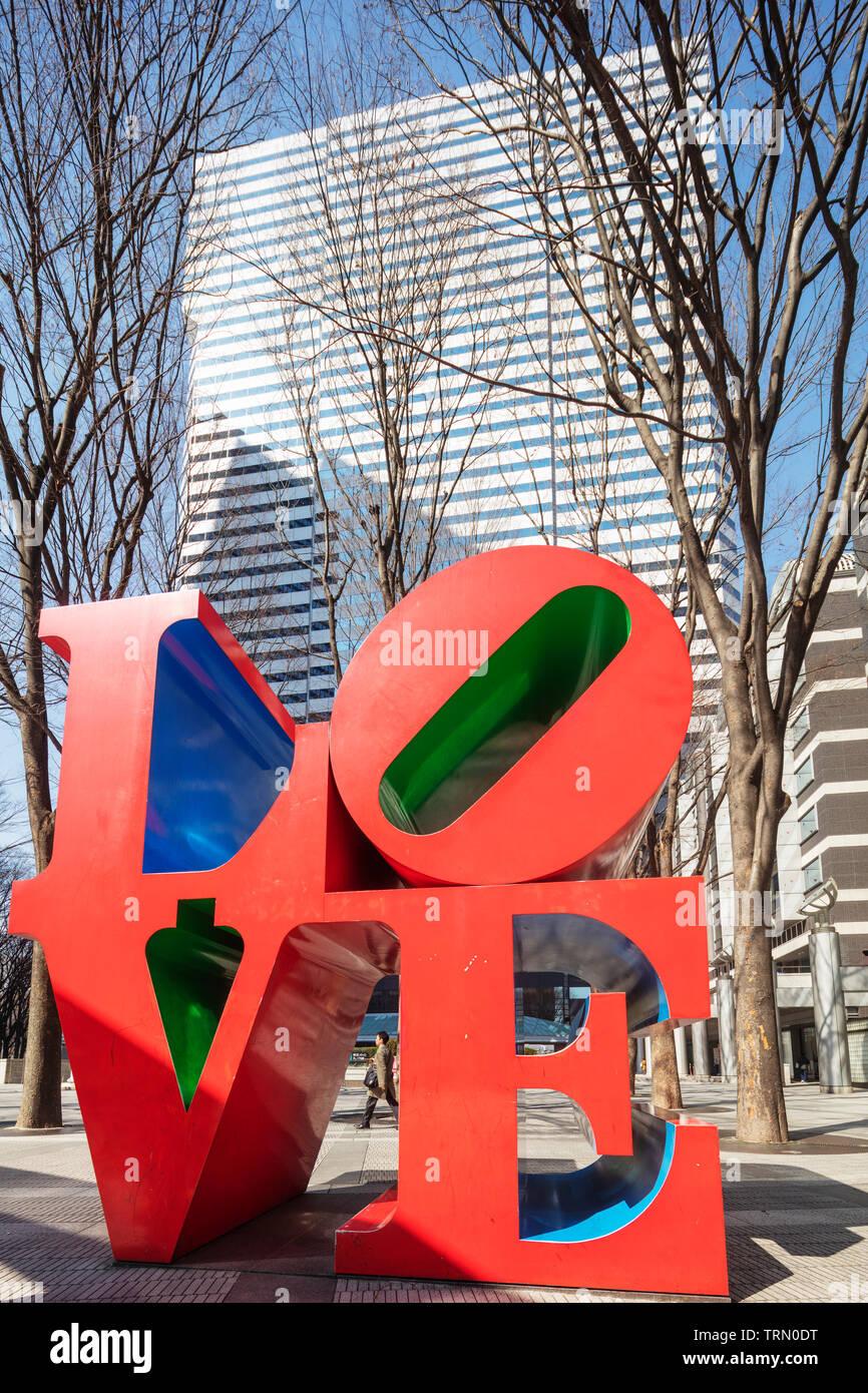 Asia, Japan, Tokyo, Shinjuku, Love objet sculpture by American artist Robert Indiana - Stock Image