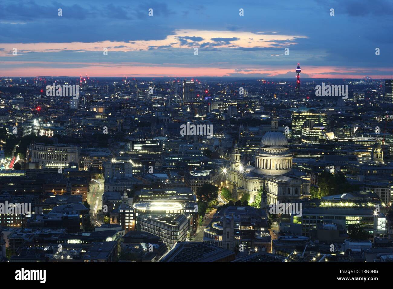 London skyline at summer sunset, England - Stock Image