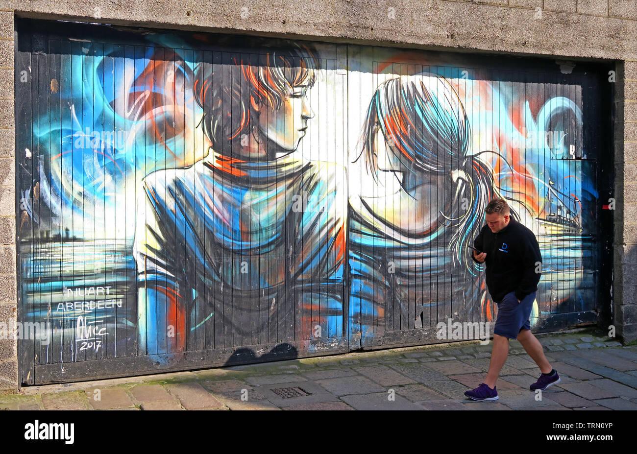 Shiprow street Art, Aberdeen, Scotland, UK -  public murals for Nuart by Alice Pasquini Stock Photo