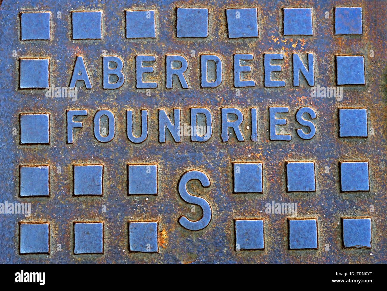 Aberdeen Foundaries Cast Iron Manhole Cover, City Centre, Aberdeen , Scotland, UK - Stock Image