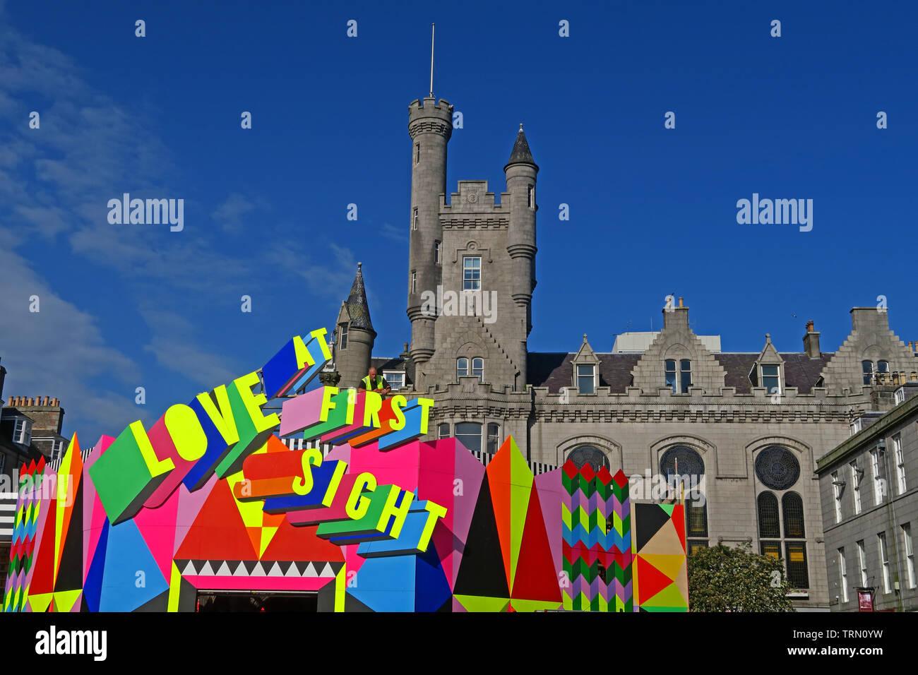 Morag Myerscough installation Love At First Sight in the Mercat, Castlegate, Aberdeen, Scotland, UK - Aberdeen Art Festival 2019 - Stock Image
