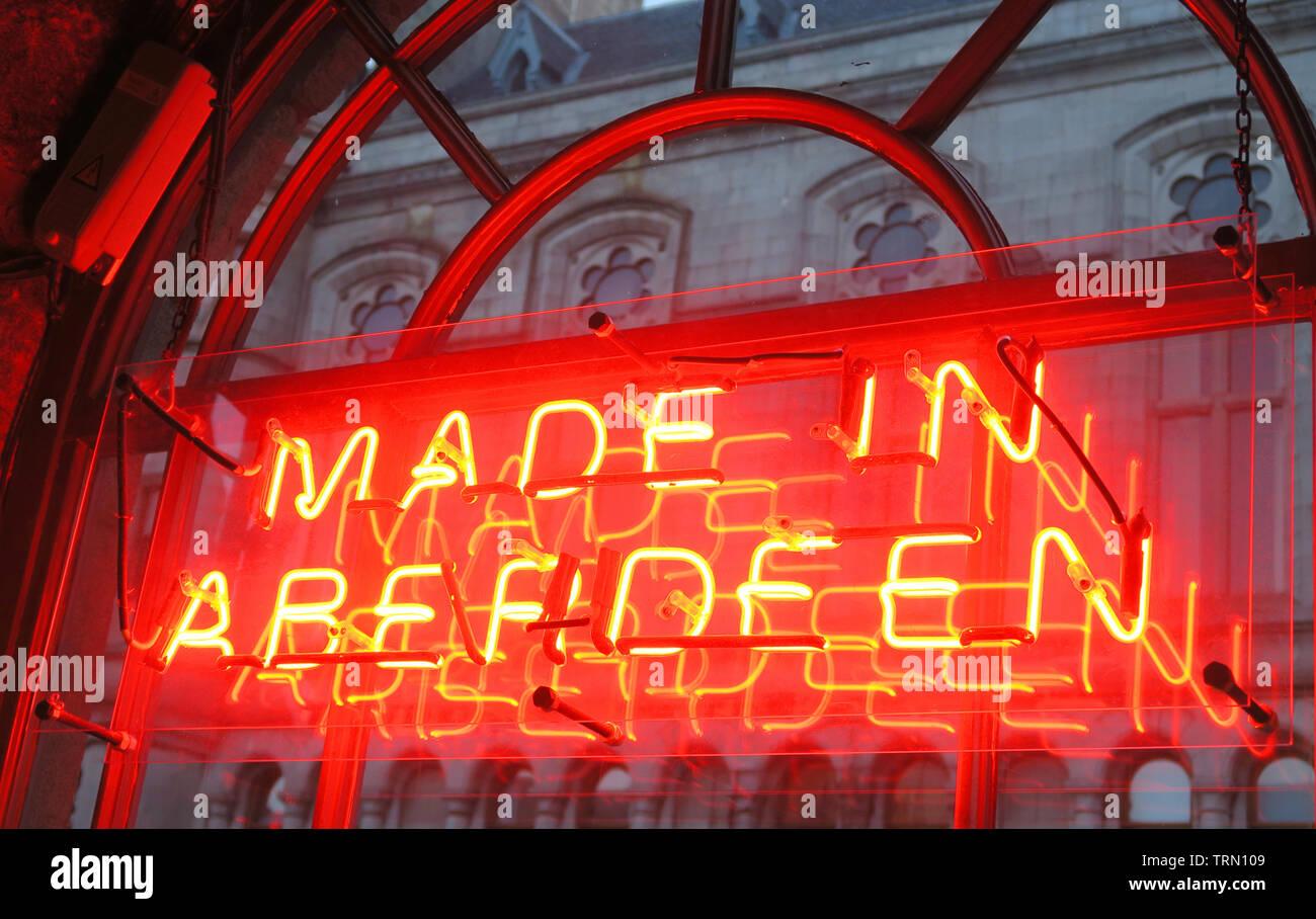 Made In Aberdeen Red Neon Sign in window, Brewdog Castlegate Bar, 5-9 Union St, Aberdeen, Scotland, UK,  AB11 5BU - Stock Image