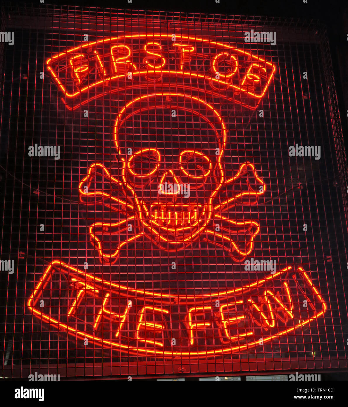 First Of The Few, Skull and Crossbones Neon sign, Brewdog bar, 17 Gallowgate, Aberdeen, Scotland, UK, AB25 1EB, UK Stock Photo