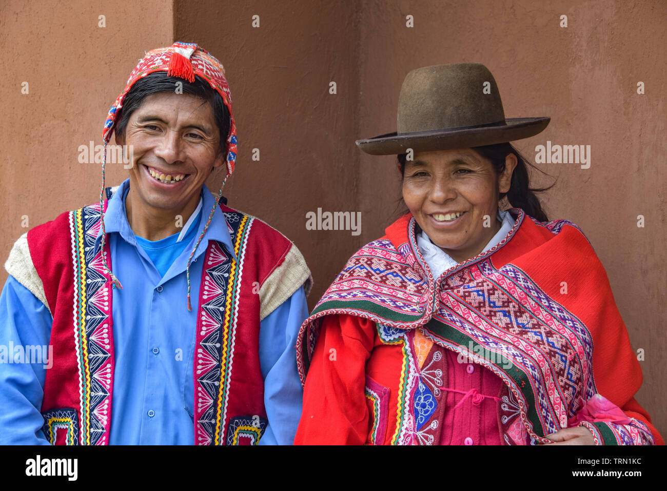 Sacred Valley, Cusco, Peru - Oct 13, 2018: An indigenous Quechua man and woman in the Yachaq community of Janac Chuquibamba - Stock Image