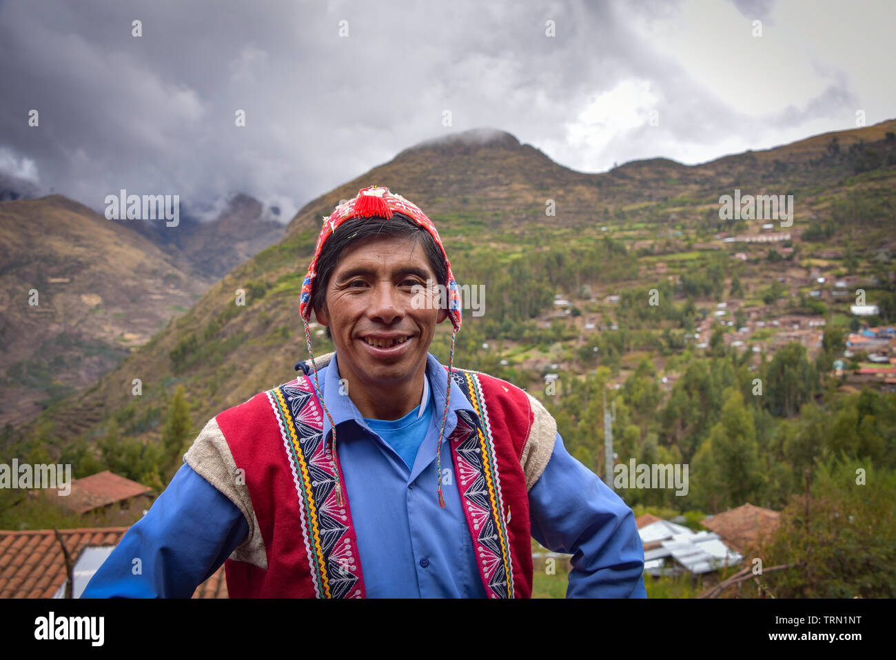 Sacred Valley, Cusco, Peru - Oct 13, 2018: An indigenous Quechua man in traditional dress - Stock Image