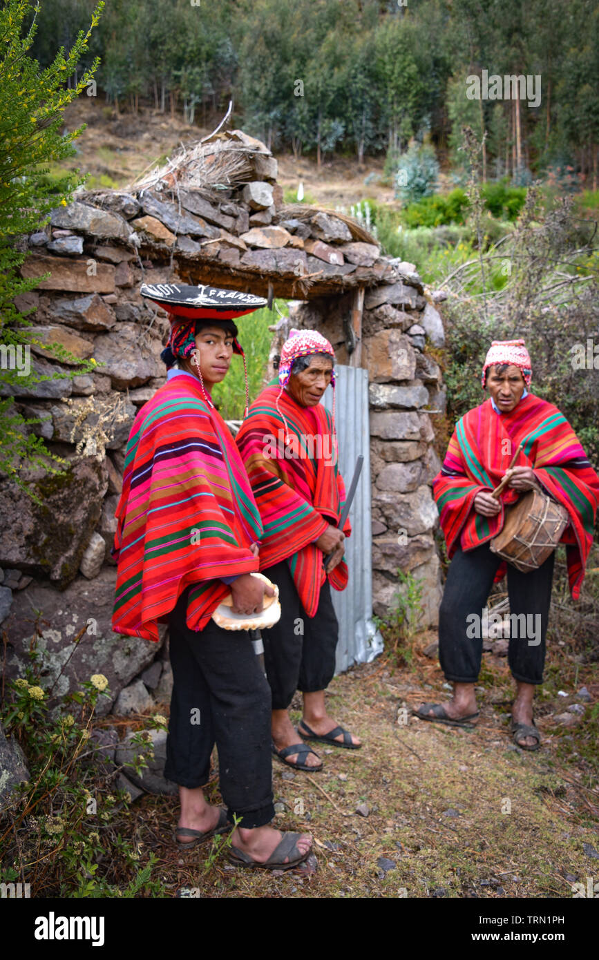 Sacred Valley, Cusco, Peru - Oct 13, 2018: A group of musicians in a rural Quechua community near  the Sacred Valley - Stock Image