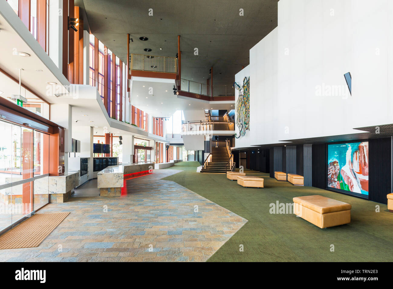 The foyer of the Cairns Performing Arts Centre, completed in late 2018.  Cairns, Queensland, Australia Stock Photo