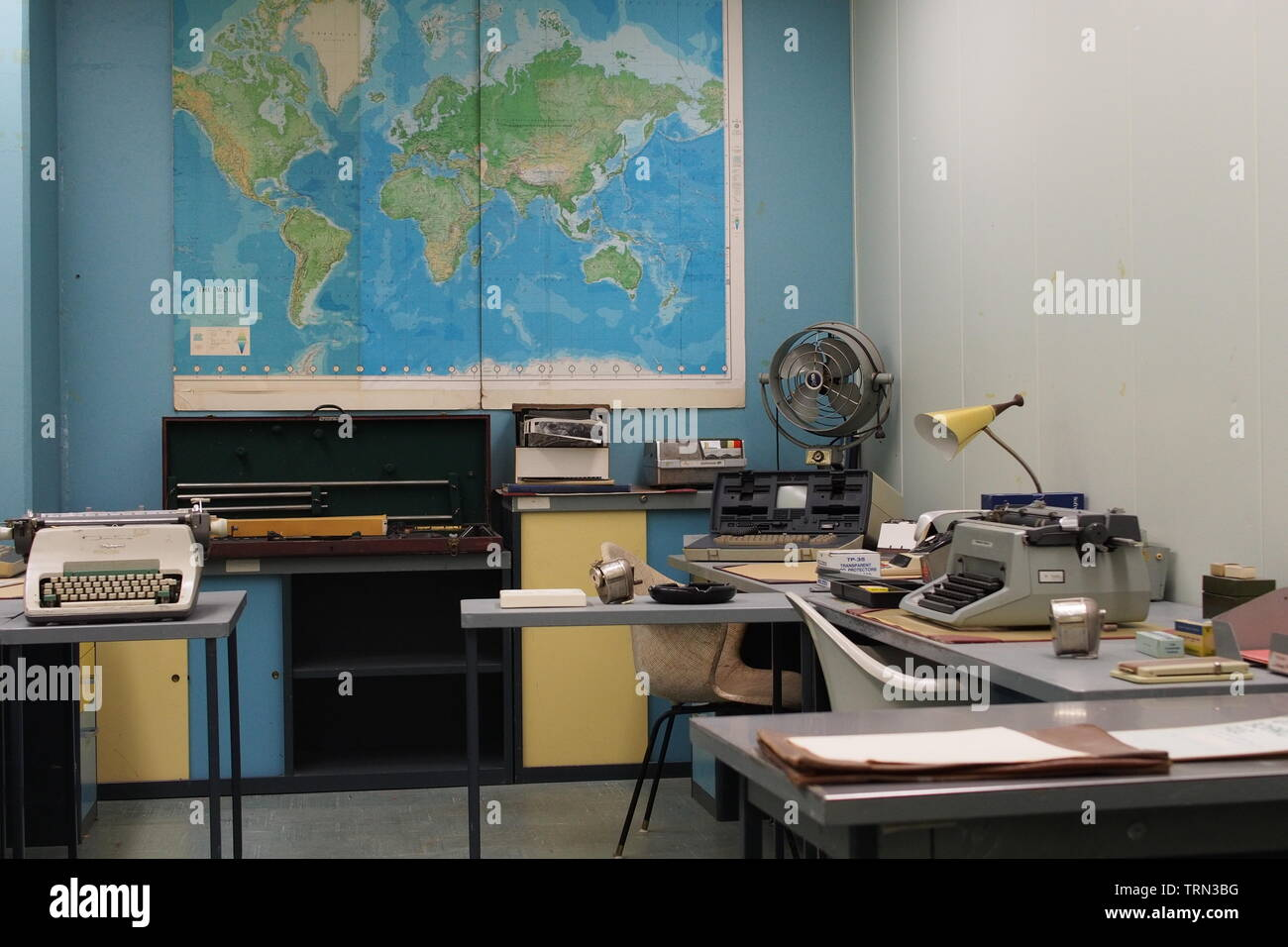 Federal Warning Centre room at the Diefenbunker, Canada's Cold War Museum, Carp, Ontario, Canada. Stock Photo