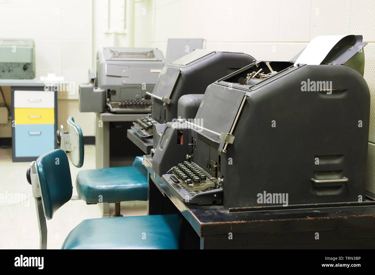 Teleprinters in the Communications Centre of the Diefenbunker, Canada's Cold War Museum, located just outside Ottawa in Carp, Ontario, Canada. Stock Photo