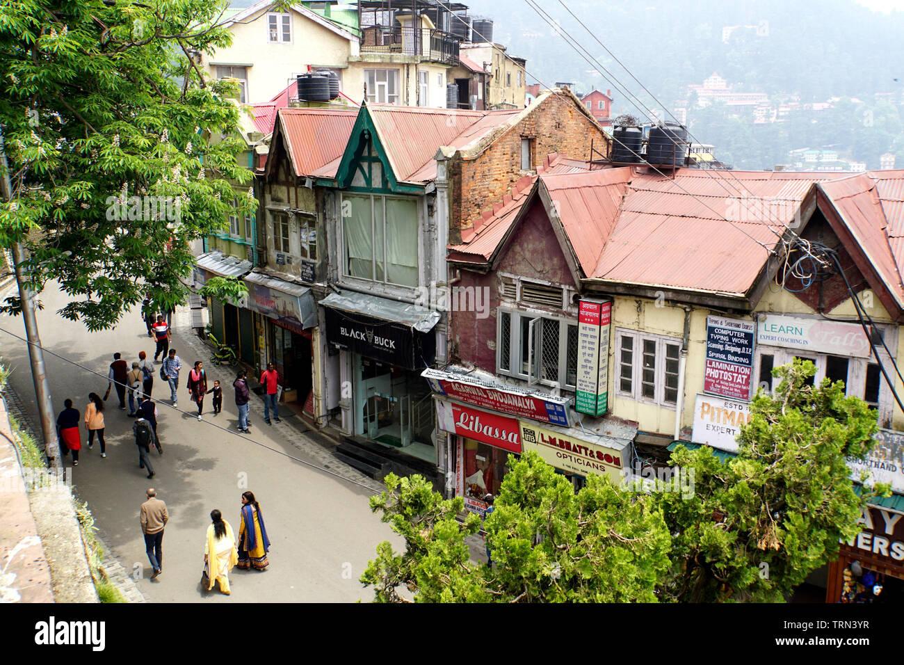 High Angle View of Shimla's Mall Road - Stock Image