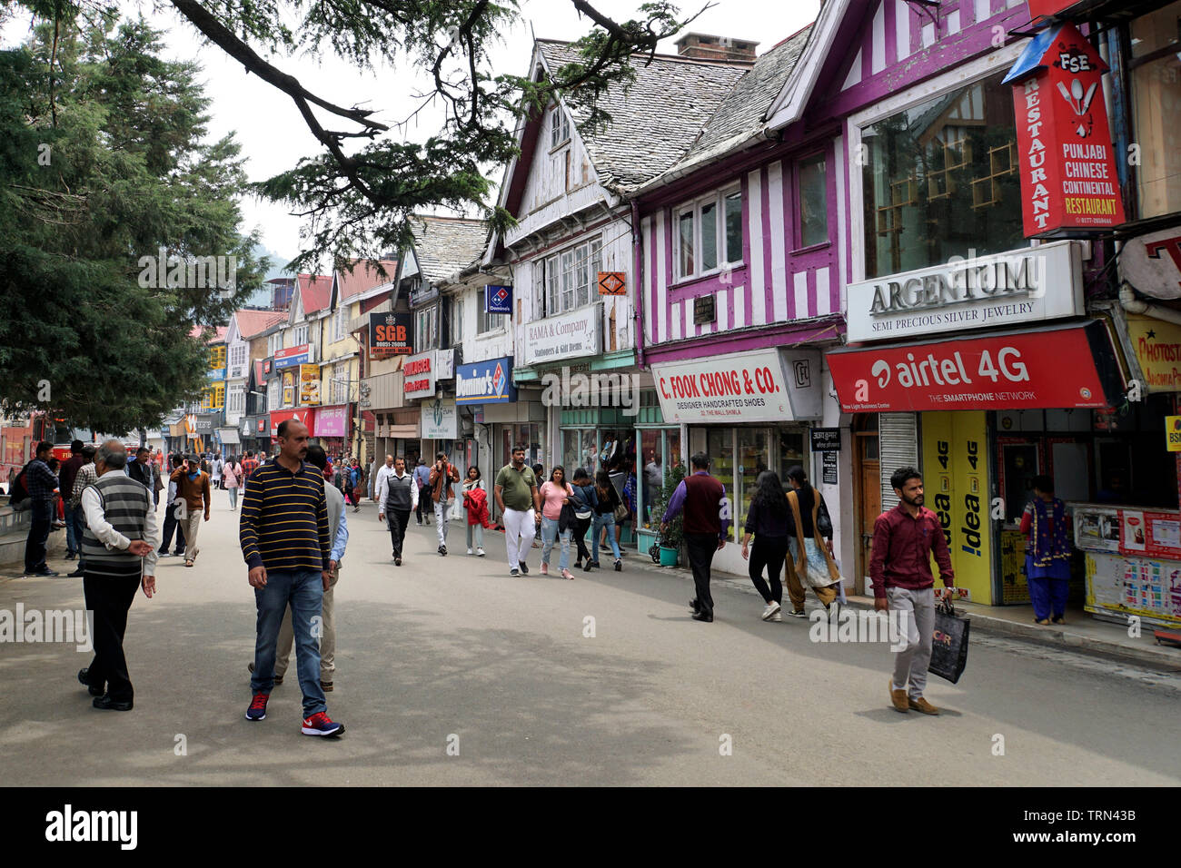 Colonial Architecture in Colorful Shimla Mall Road - Stock Image