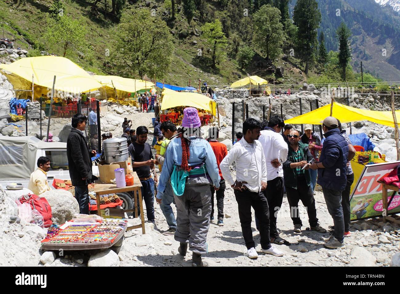 Tourists enjoying everything Solang Valley has to offer - Stock Image