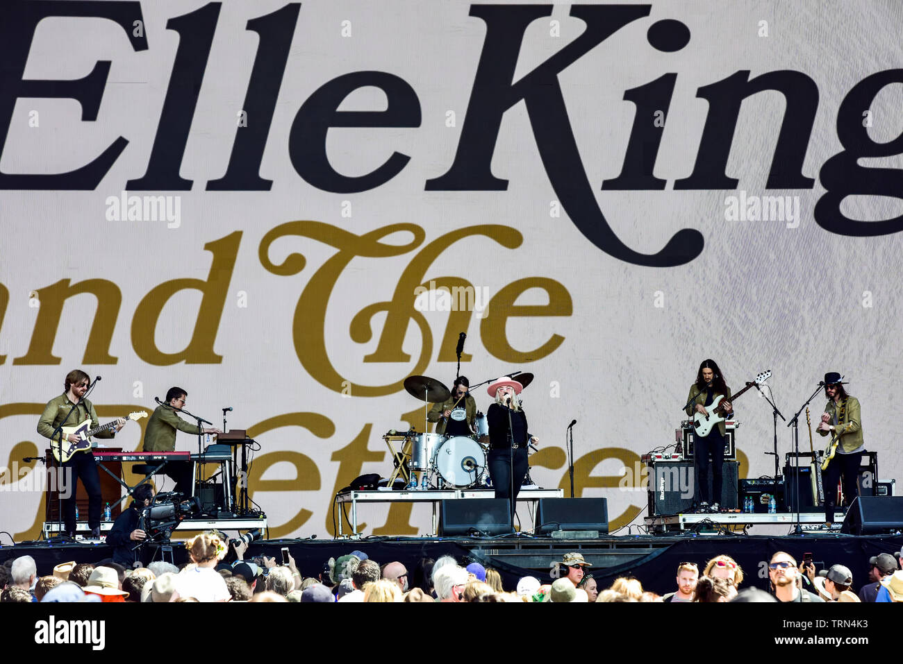 Napa, California, May 25, 2019, Elle King on stage at the 2019 Bottle Rock Festival. Stock Photo