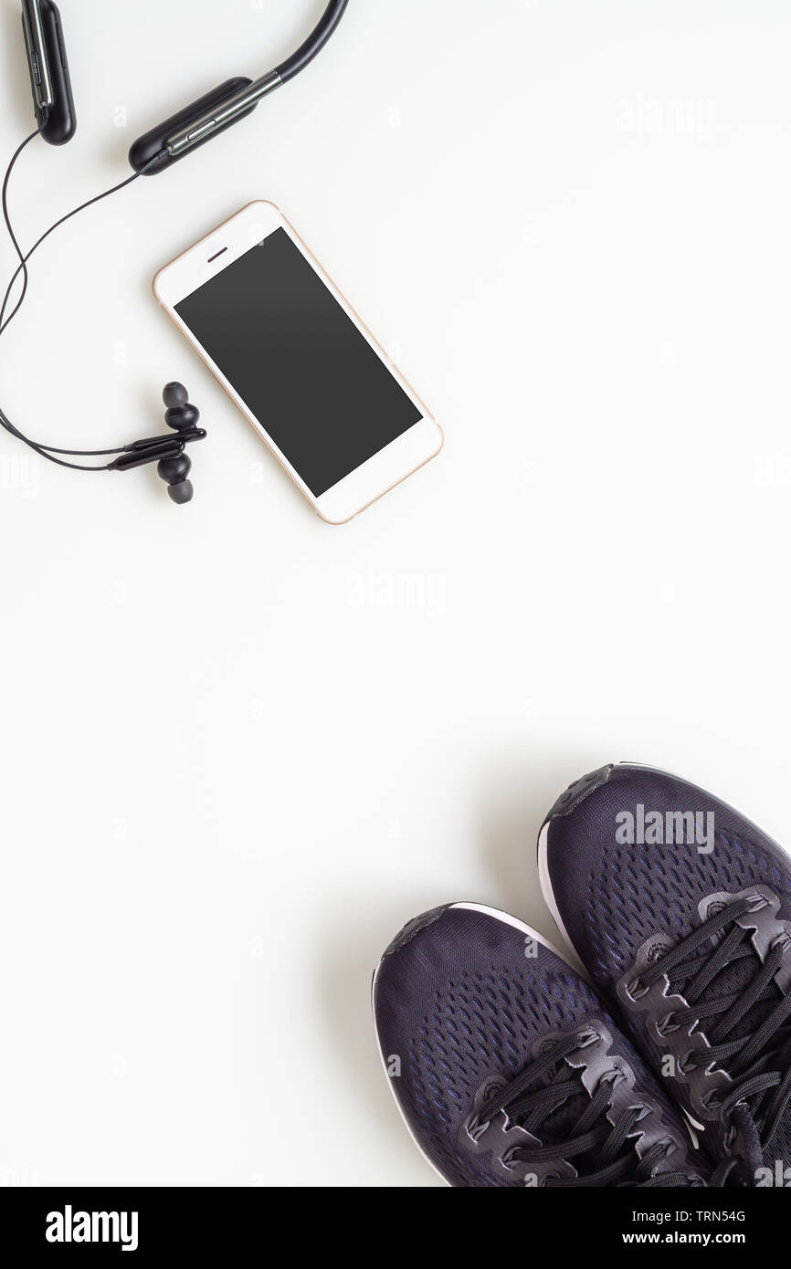 Mockup Mobile Cellphone With Wireless Bluetooth Earphone And Running Shoes On White Background Healthy Active Lifestyles Background Concept Daily Wo Stock Photo Alamy
