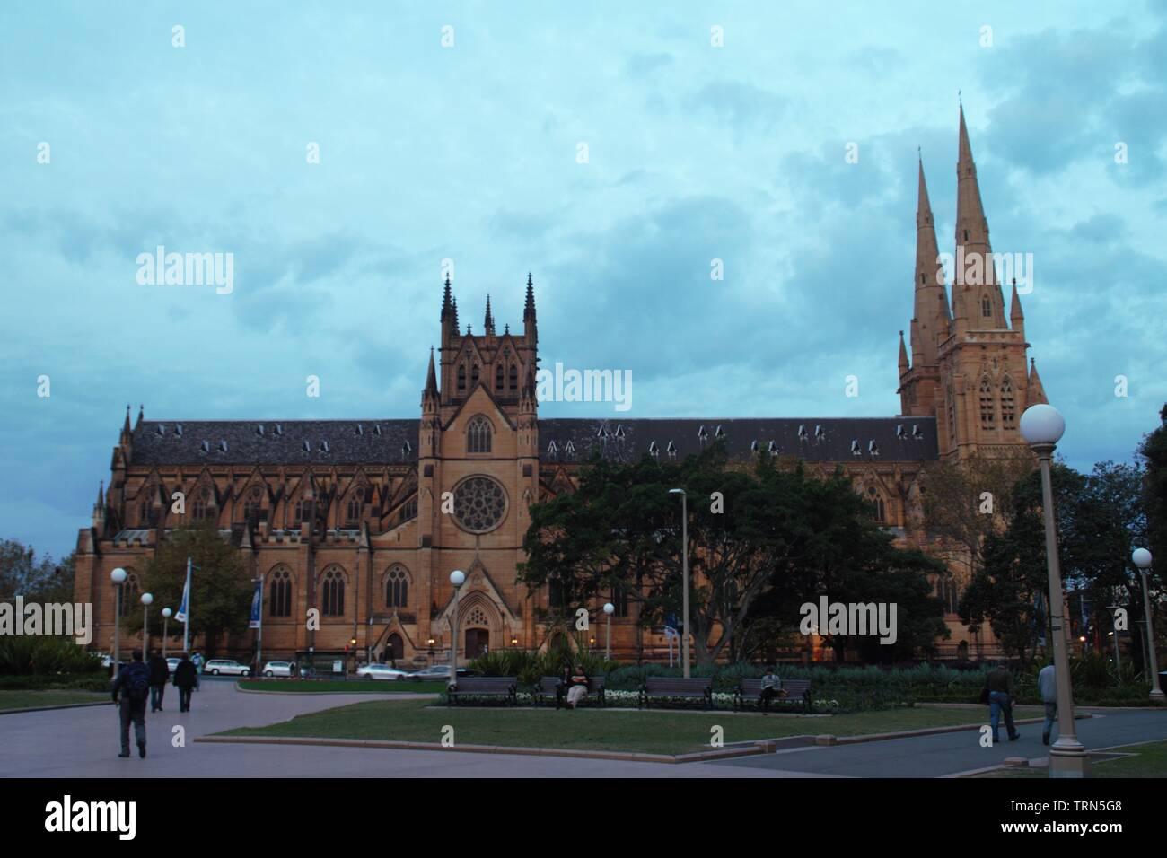 Historical huge church in Sydney Australia - Stock Image