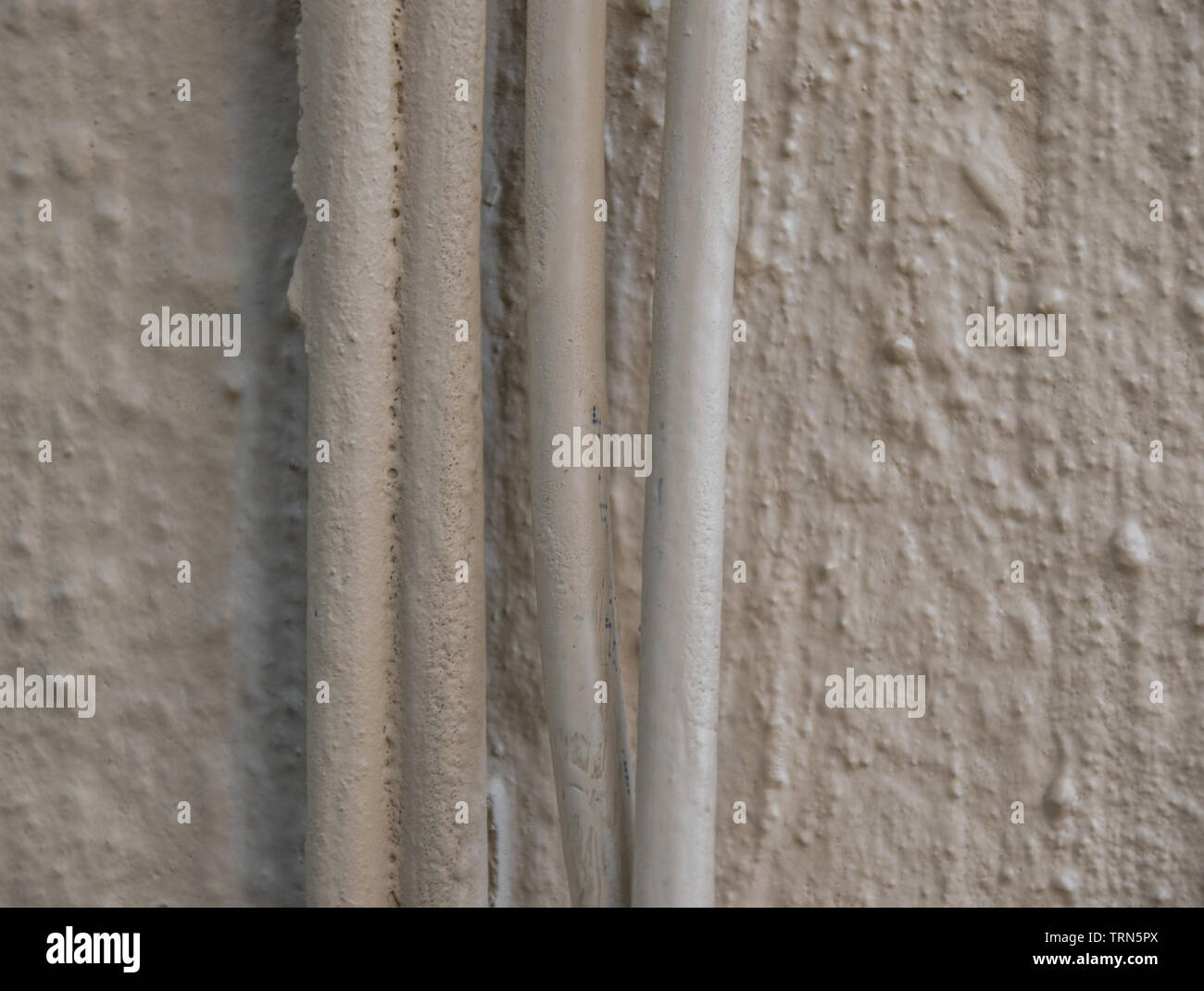 Network cabling down the side of a building up close and isolated image with copy space - Stock Image