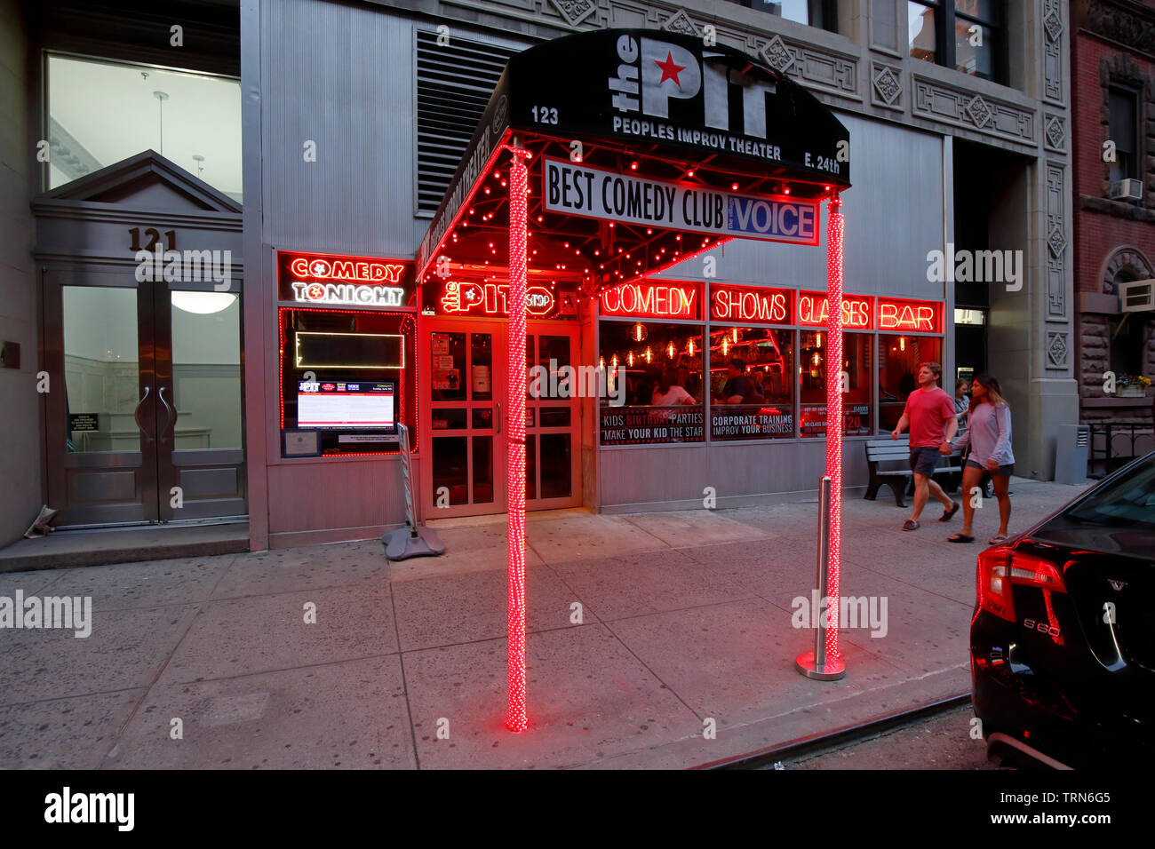 The People's Improv Theater, The PIT, 123 E 24th St, New York, NY. exterior storefront of a comedy club in the Rose Hill neighborhood of Manhattan. Stock Photo