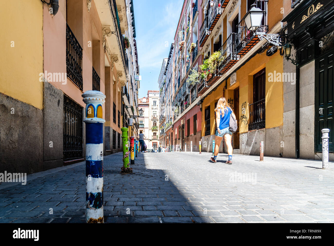 Madrid, Spain - June 9, 2019: Street scene during Graffiti festival in Malasana district in Madrid. Malasana is one of the trendiest neighborhoods in Stock Photo