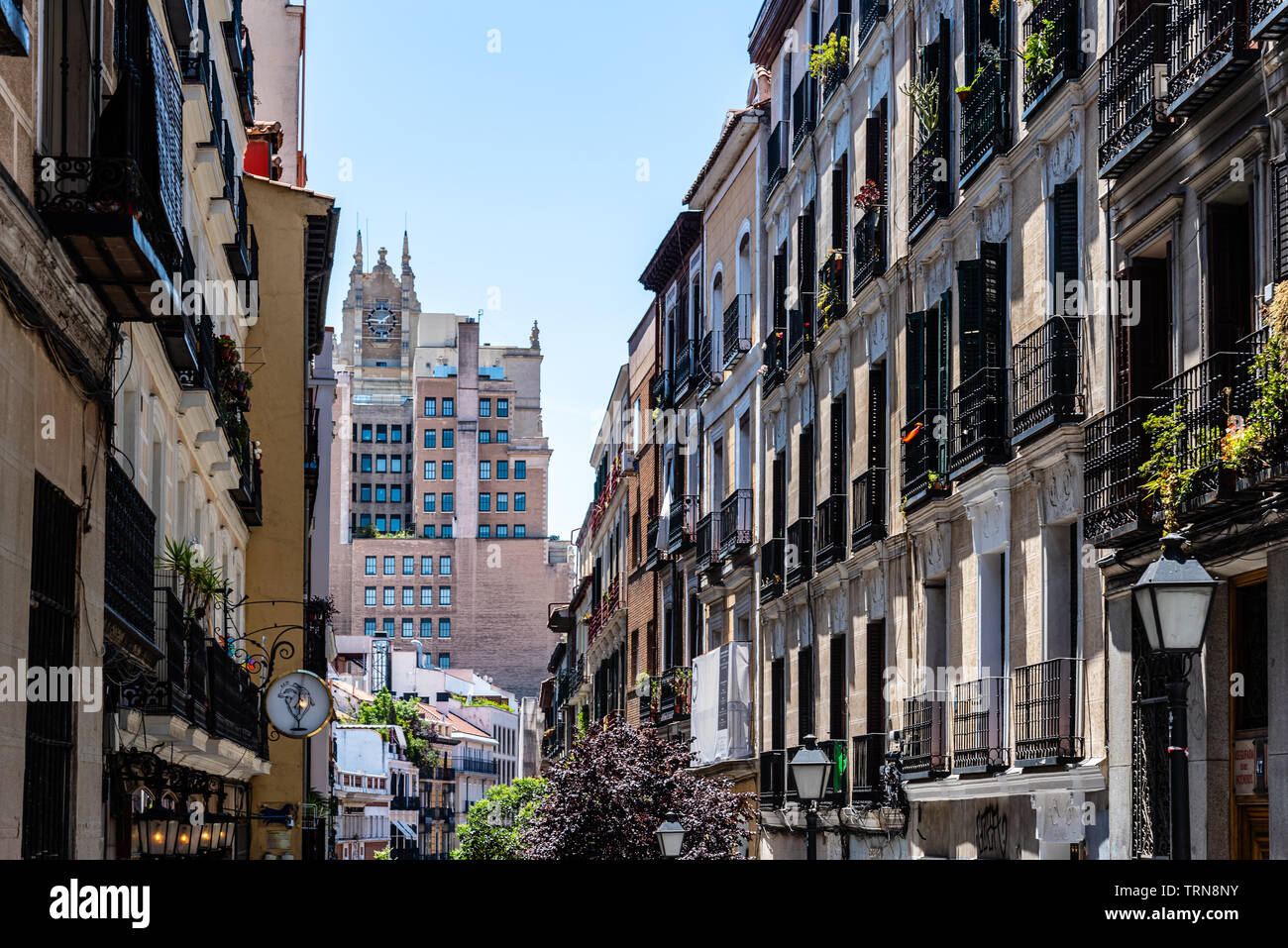 Madrid, Spain - June 9, 2019: Cityscape of Malasana district in Madrid. Malasana is one of the trendiest neighborhoods in the city Stock Photo
