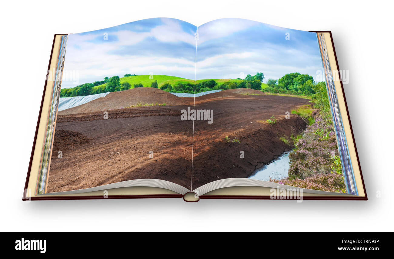 3D render of an opened photo book with an Irish peat bog landscape - (Ireland - Europe) - Stock Image