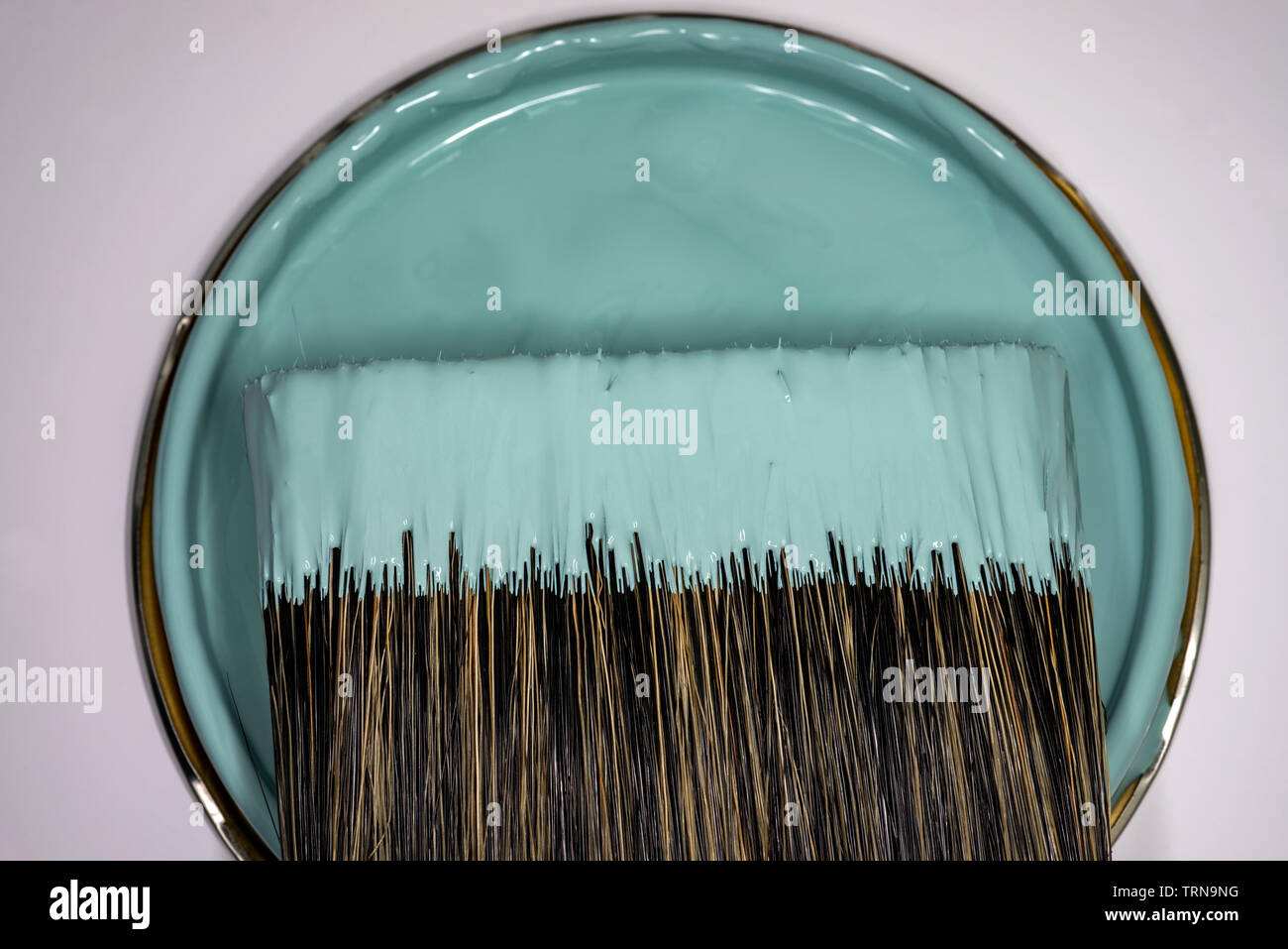 Paint brush and tin of paint Stock Photo