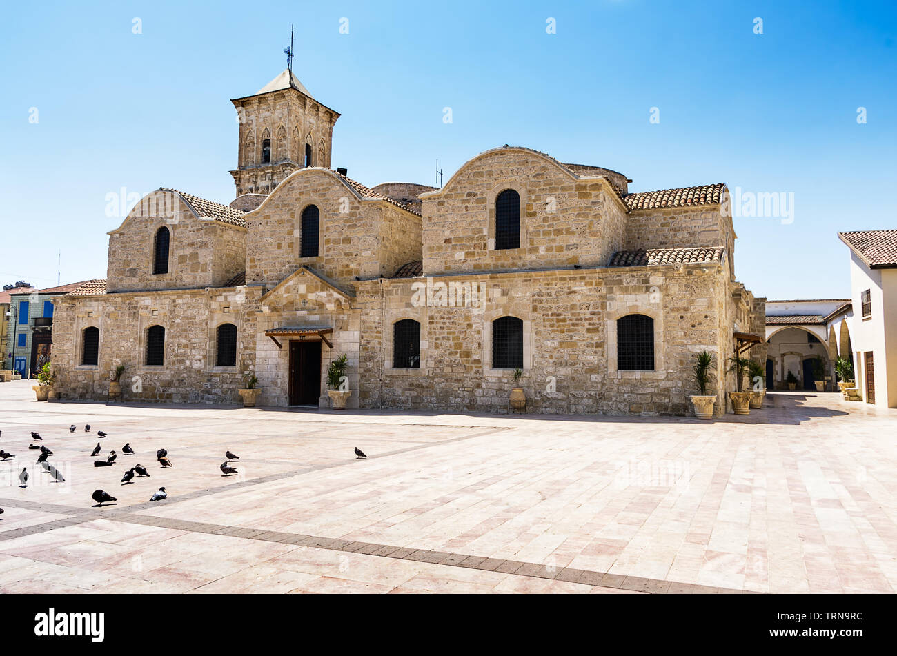 Located in its own square in the town centre, the magnificent stone church of Agios Lazaros is one of the most remarkable examples of Byzantine archit - Stock Image