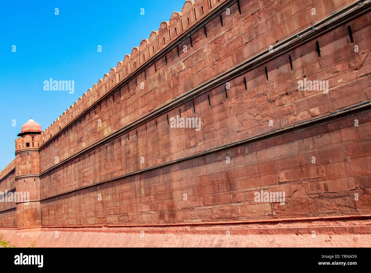 A wall of red fort or Lal Qila in Delhi, India - Stock Image