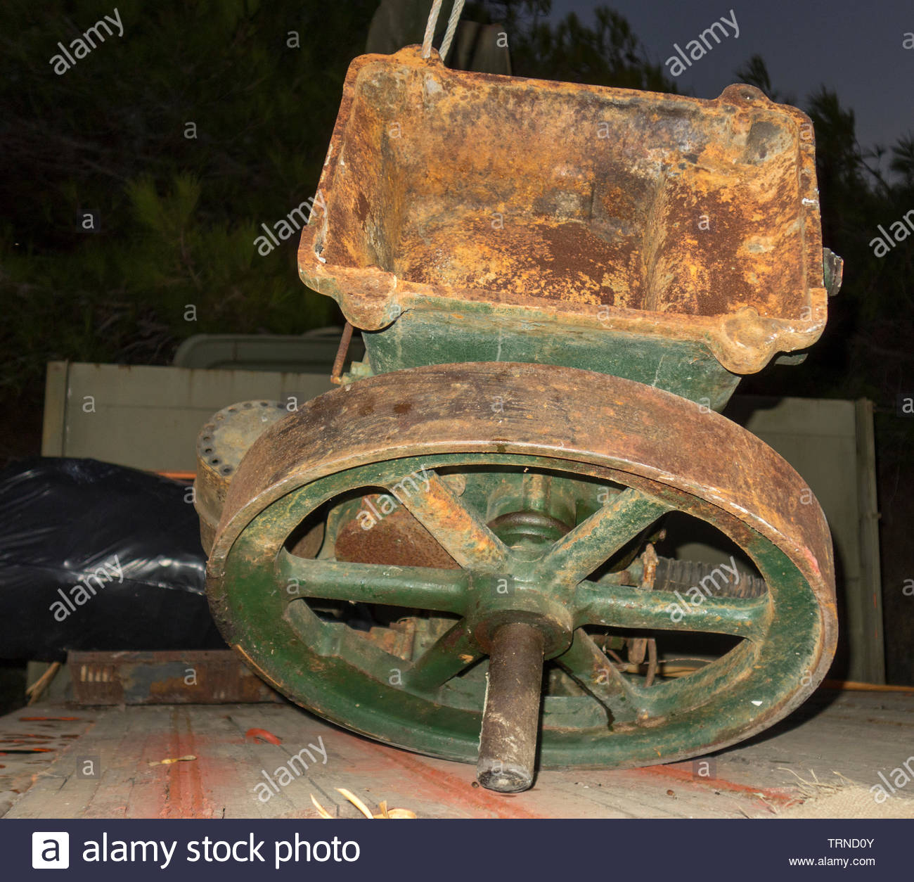 Europe, Greece, 2018: View Of Ancient One Cylinder Diesel Engine From British Factory - Stock Image