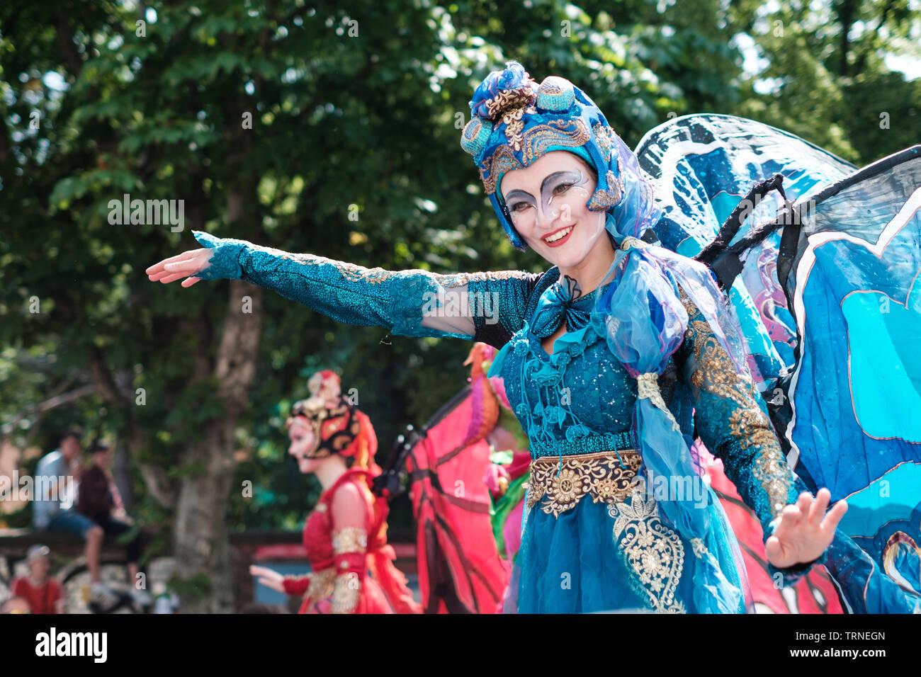 Berlin, Germany - june 2019: Girl wearing costume, celbrating  Karneval der Kulturen (Carnival of Cultures) in Berlin - Stock Image