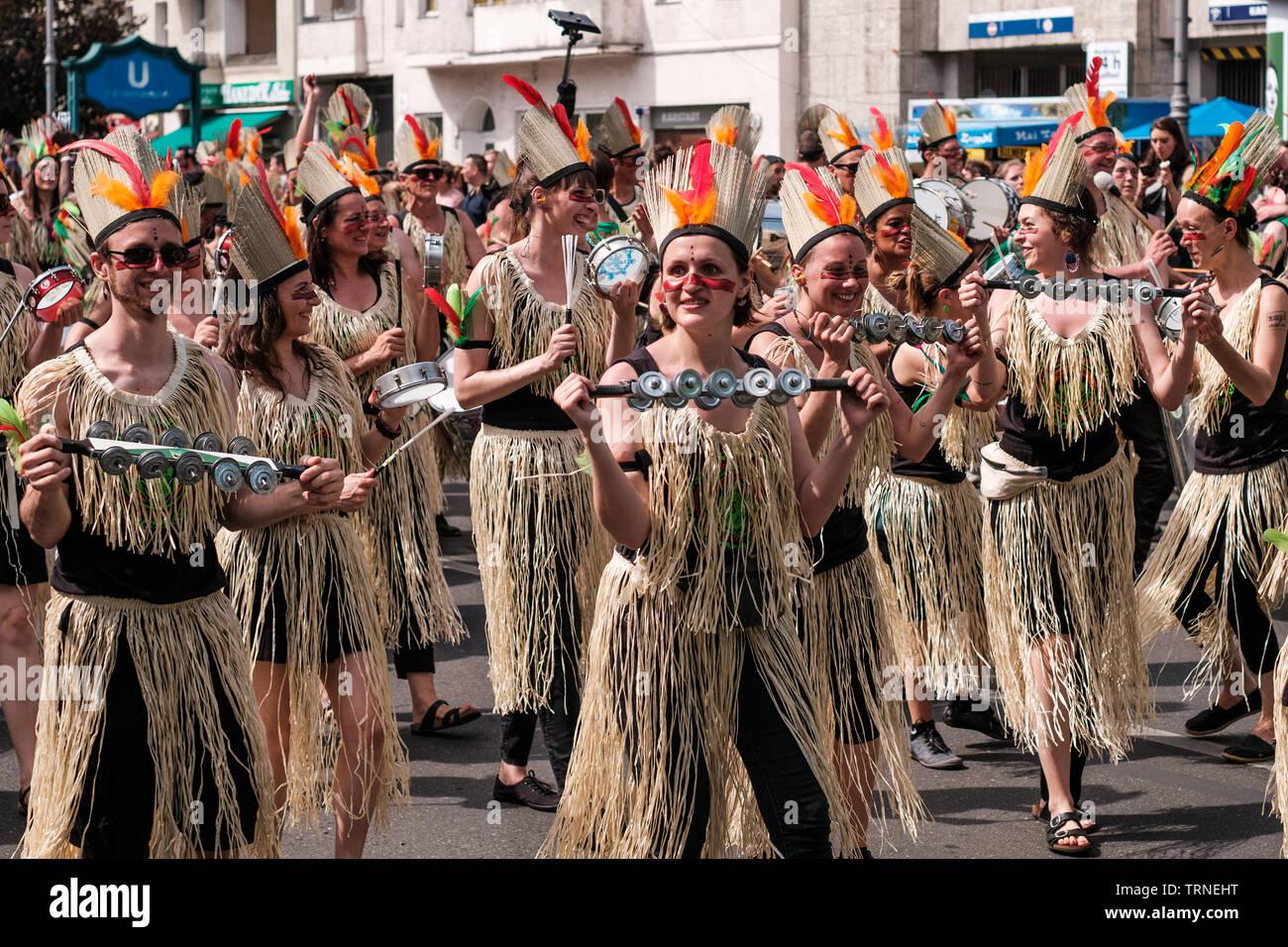 Berlin, Germany - june 2019: People performing at Karneval der Kulturen (Carnival of Cultures) in Berlin - Stock Image