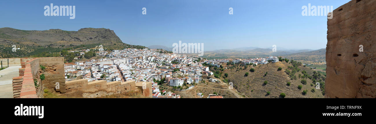 Panorama of Alora Andalucia Spain taken from castle wall. Stock Photo