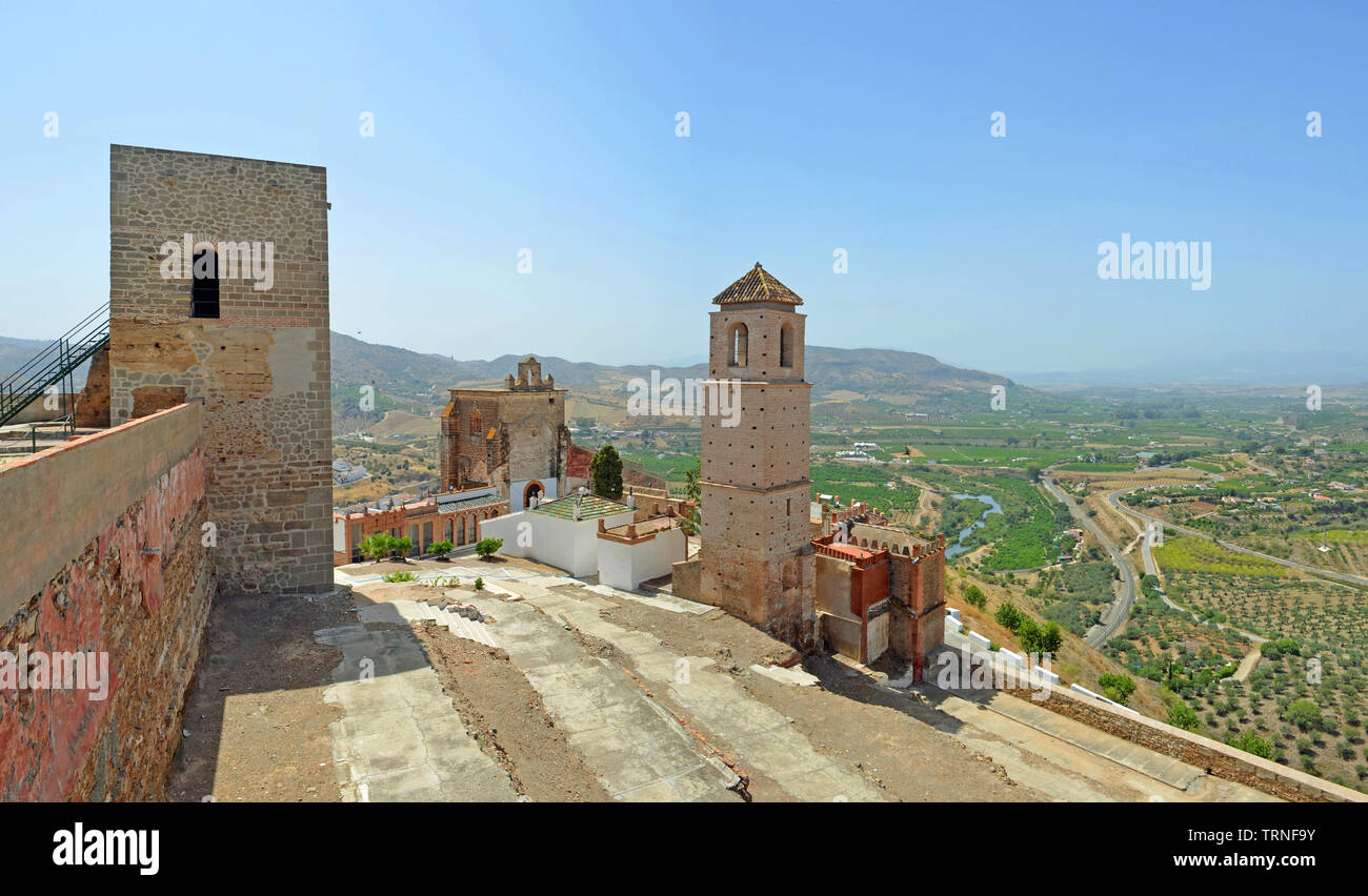 Alora castle and surrounding countryside Andalucia Spain. - Stock Image